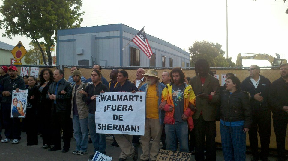 Sherman Heights residents and their supporters protesting the destruction of the old Farmer's Market in Sherman Heights
